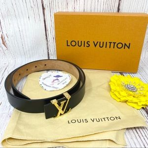 Louis Vuitton Black Leather Belt 80